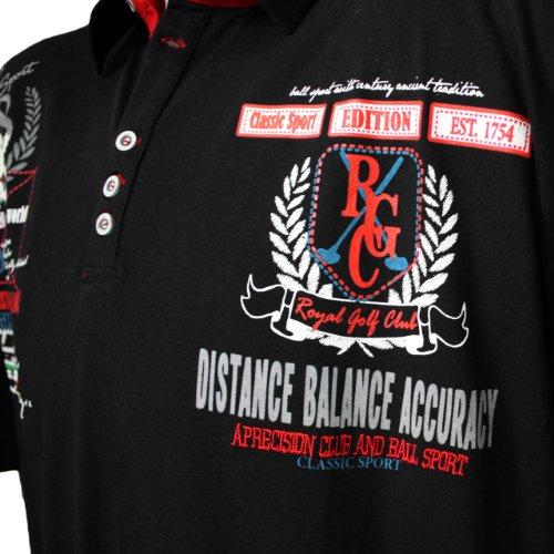 """Herren Poloshirt in Übergröße: Kurzarm Polo T-Shirt """"Classic Sport"""" von Lavecchia aus reiner Baumwolle in schwarz von 3XL bis 7XL"""