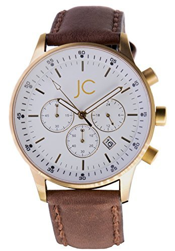 Jean Constantine Men's Chronograph Elegant Quartz Watch Swiss Ronda Quarz Movement Date 5 ATM (Quartz Movement Ronda)