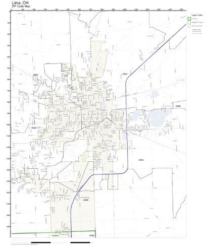 Lima Ohio Zip Code Map.Amazon Com Zip Code Wall Map Of Lima Oh Zip Code Map Laminated