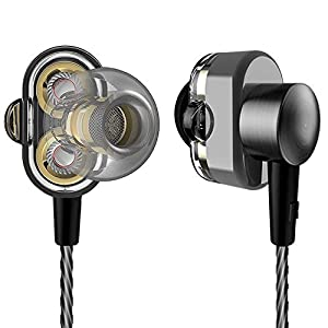 in-Ear Earbuds Dual Dynamic Driver Ear Buds Bass Boosted High Resolution Stereo Headphones with Mic Noise Cancelling Wired Earphones for Smart Android Cell Phones iPhone MP3 MP4