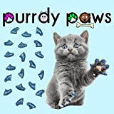 100 Pack Soft Nail Caps For Cat Claws BLUE GLITTER MEDIUM Purrdy Paws Brand