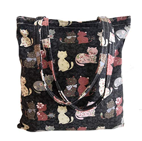 Canvas Tote Carrying Bag for Book Lovers, Readers, and Bibliophiles, Travel bag, shopping bag, Reusable Grocery Bags, Women's Shoulder Handbags (Bag-multicolor-black cat)