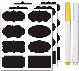 Chalkboard Labels Bulk (80PCS) - Mini Decorative Chalk Labels - Free Erasable Chalk Pen,Black stickes Labels for Food Storage Classification, Adhesive Blackboard Stickes Label
