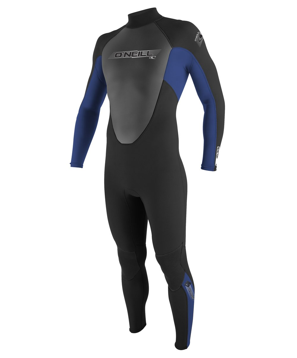 O'Neill Youth Reactor 3/2mm Back Zip Full Wetsuit, Black/Pacific/Black, 10