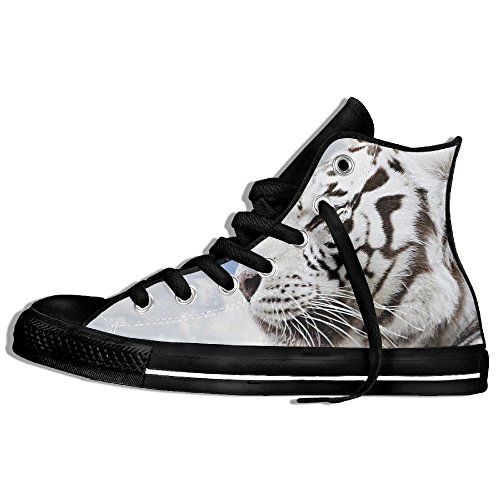 Classic High Top Sneakers Canvas Shoes Anti-Skid Tigers Casual Walking For Men Women Black EceGHm