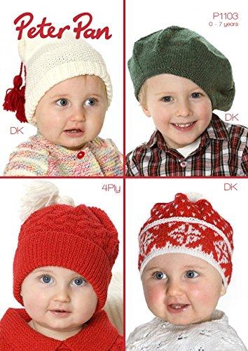 Peter Pan Baby & Childrens Hats Knitting Pattern 1103 4 Ply, DK