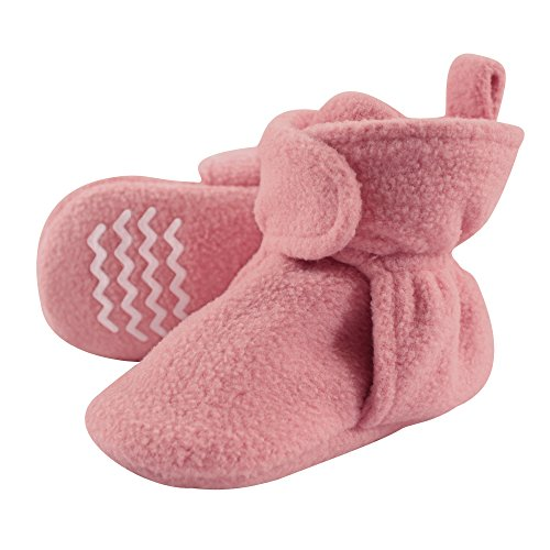 (Hudson Baby Baby Cozy Fleece Booties with Non Skid Bottom, Strawberry, 0-6 Months )