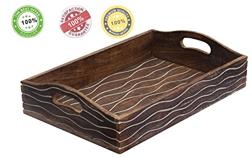 SouvNear Wooden Serving Tray with Handles 15x10 Inch Kitchen