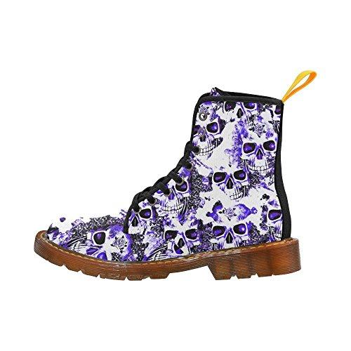 Leinterest Molnigt Skallar Vit Blå Martin Stövlar Mode Skor För Kvinnor