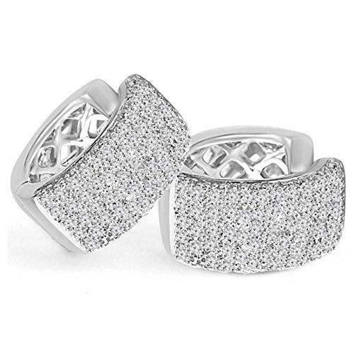 9/10 CTW Round Diamond Hoop Earrings in 14K White Gold (MDR140074) Fsa7kV