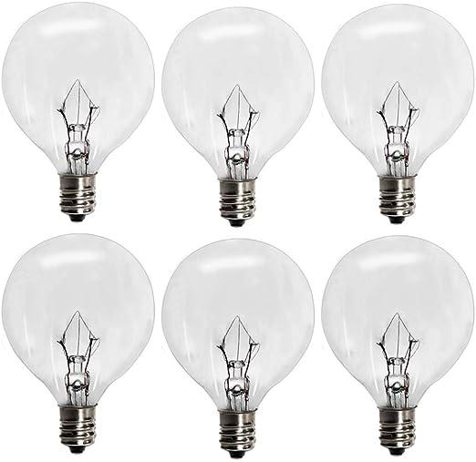 6 Pack Wax Warmer Bulbs,G50 25 Watt Bulbs for Full Size Scentsy Warmers,G16.5 Globe E12 Incandescent Candelabra Base Clear Light Bulbs for Candle Wax Warmer,1.97 Inches,Long Last Lifespan