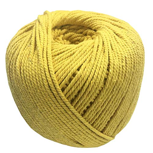 Natural Cotton Cord Rope DIY Macrame Cord Wall Hanging Plant Hanger Craft Making Knitting Rope Home Decoration 13 Colors 3mm200m/4mm110m (4mm, Yellow) -