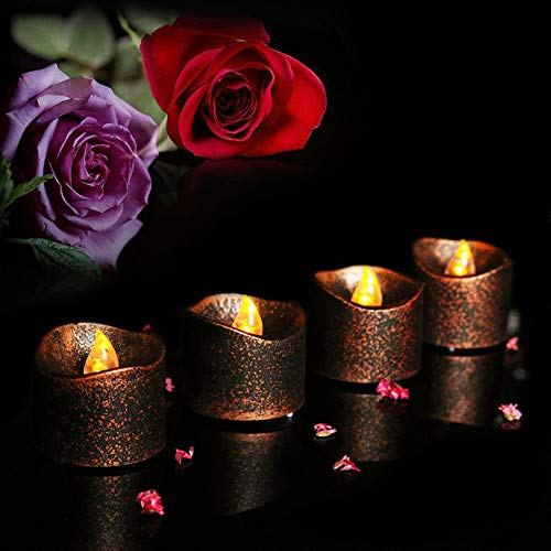 LED Candle Tea Lights, Elevin(TM) 4PC Flameless Tea Lights Electric Battery Fake Tealight Black Party LED Candles