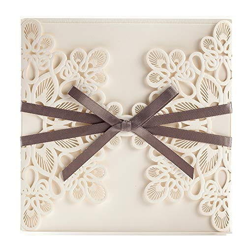 WISHMADE 1 Piece Elegant Blank Printable Laser Cut Wedding Invitations Cards, Quinceanera Baby Shower Engagement Birthday Invites, With Brown Ribbon Bowknot Cardstock WM207