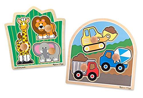 Knob Bulldozer (Melissa & Doug Jumbo Knob Wooden Puzzles Set - Construction and Safari)