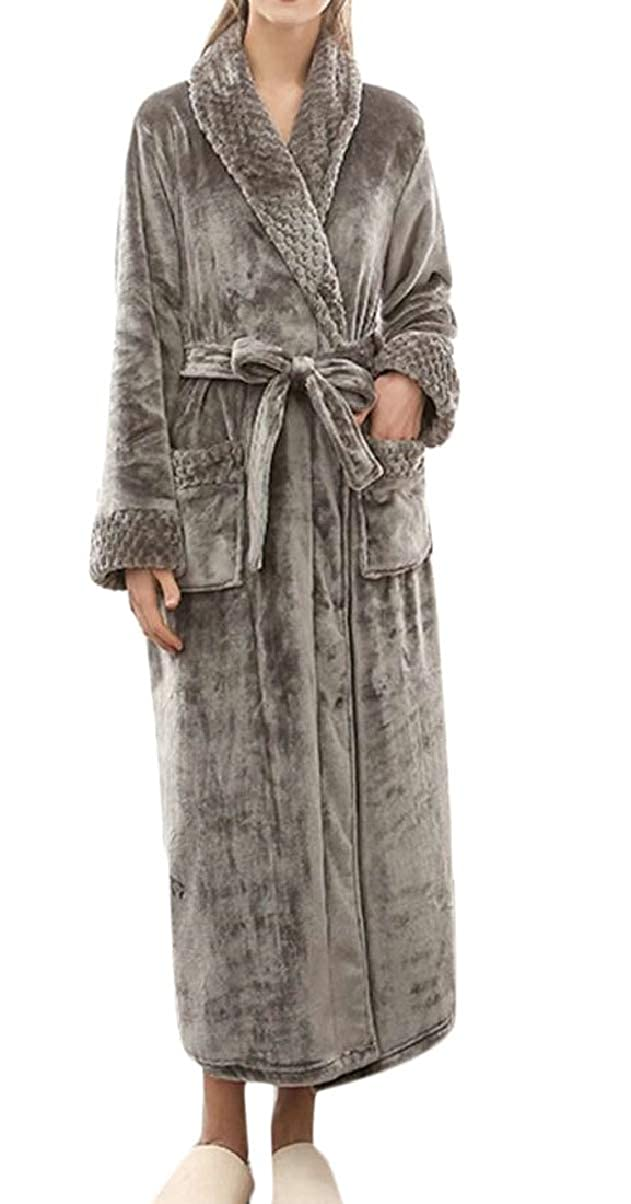 ZXFHZS Mens Homewear Robes Long Sleeve Winter Thicken Flannel Bathrobe with Belt