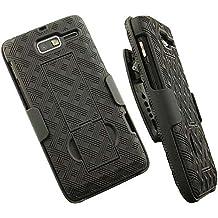 NAKEDCELLPHONE'S BLACK KICKSTAND CASE + BELT CLIP HOLSTER STAND FOR VERIZON MOTOROLA DROID RAZR-M XT907 PHONE (AND LUGE, RAZR-i XT890, XT901)