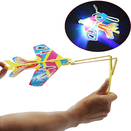 Diy 2 Person Costume (OVERMAL DIY Flash Ejection Cyclotron Light Plane Slingshot Aircraft For Kids Gift Toys Holloween Toys Christmas Toys)