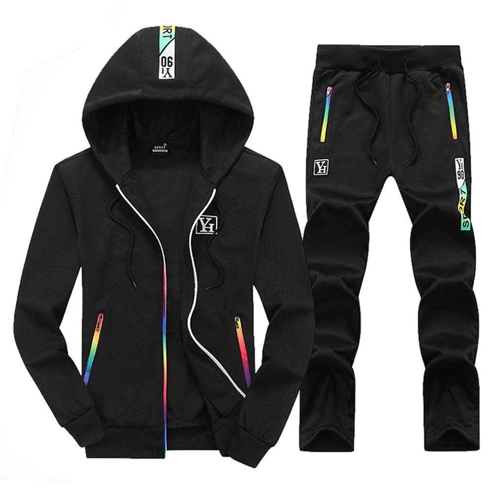 Mens 2 Pieces Tracksuit Jacket and Pants Casual Full Zip Running Jogging Athletic Plaid Sports Sweatsuits