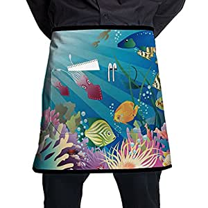 Fish-Tank-Aquarium Waist Tie Half Waist Apron With 2 Pockets For Chef, Baker, Servers, Waitress, Waiter, Pocket Waist Apron For Men & Women