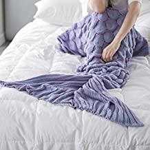 Mermaid Tail Blanket Knitted Crochet Soft Sleeping Bags, for Adult and Kids (Light purple)