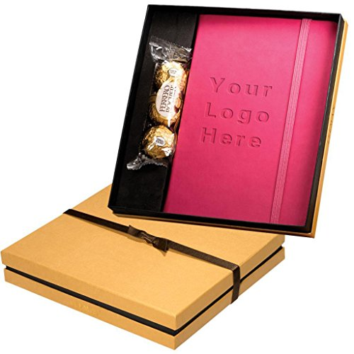 Branded Tuscany Journal & Ferrero Rocher Chocolate Gift Set - 25 Quantity - $23.93 Each - Promotional Product / Bulk / Customized and Debossed with YOUR LOGO for Free / C2BPromo #C2BONB014-Pink