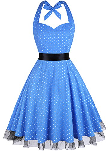 OTEN Women's Floral Vintage 1950s Halter Rockabilly Gown Cocktail Party Dress,Blue Polka Dot,Large]()