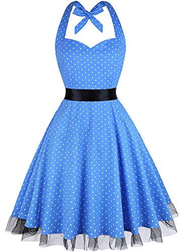 (OTEN Women's Floral Vintage 1950s Halter Rockabilly Gown Cocktail Party Dress, Blue Polka Dot,)