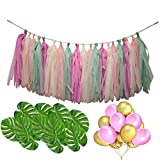 Su-luoyu 52 PCS Colorful Decoration Set Hawaiian Style Tassels Paper Banner Balloon Monstera Leaf for Wedding Birthday Beach Party