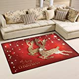XiangHeFu Area Rugs Doormats Greeting Card With Gold Shiny Deers And Christmas 5'x3'3 (60x39 Inches) Non-Slip Floor Mat Soft Carpet for Living Dining Bedroom Home