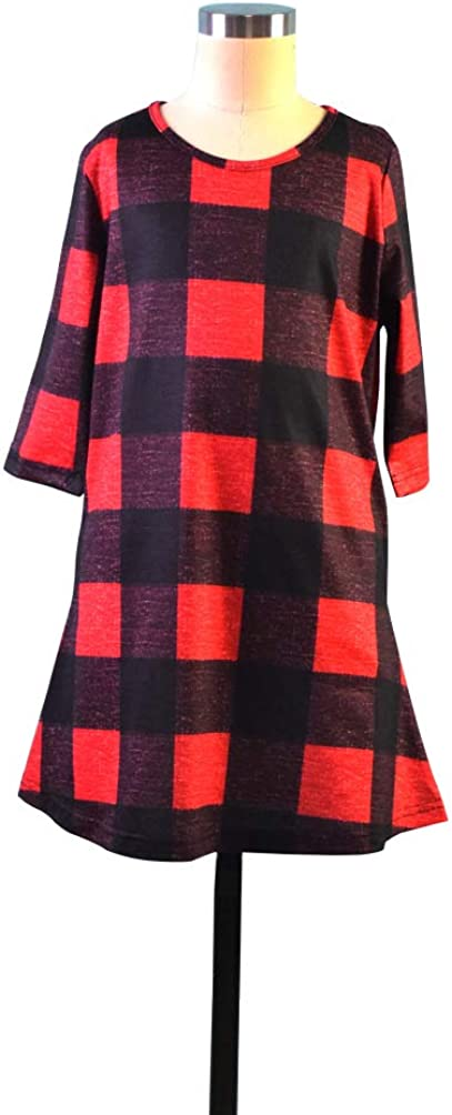 Child 2T, 1-red Qin.Orianna Mommy and Me 3 4 Sleeve Plaid Family Matching Tunic Dress with Pocket for Christmas Photo Shoot