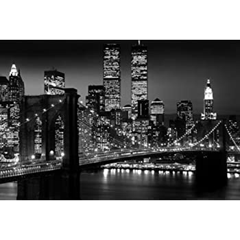 New york city skyline brooklyn bridge photography giant poster p - Toile new york noir et blanc ...