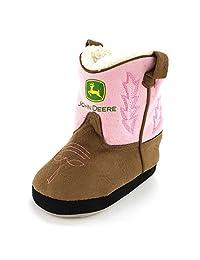 John Deere Toddler Pink Cowboy Boot Slippers (S/M (6-9 M US Toddler))
