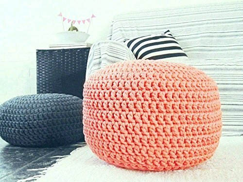 Coral Foot Stool Pouf Ottoman-Nursery Decor-Baby Shower Gifts by Looping Home