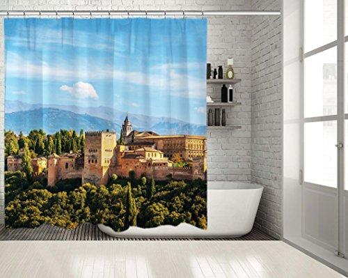 Positive Home Aerial view of Alhambra Palace in Granada, Spain with Sierra Nevada Mountains and Forest Sunny Day Blue Green Beige Long Shower Curtain 70