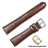 deBeer brand Ostrich Grain Watch Band (Silver & Gold Buckle) - Brown 18mm