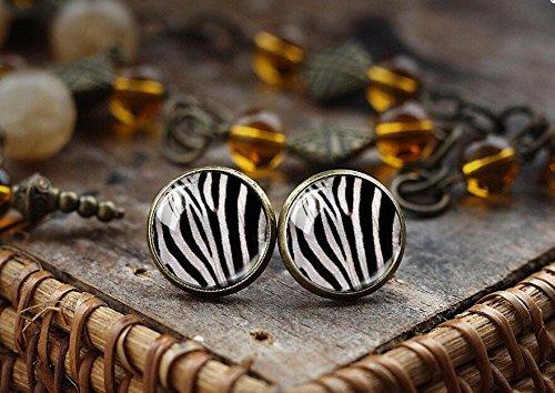 Zebra print stud earrings, Zebra earrings, animal print earrings, post earrings, glass dome earrings ()