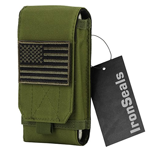 IronSeals Tactical MOLLE Pouch, Large Heavy Duty Tatical Molle Loop Belt Pouch Cellphone Holster with Flag Patch for iPhone XSmax/XR/XS/X/8P/8/7, Samsung Note9/8/5 Galaxy S9/S8+/S8/S7/S10e/S10/S10plus