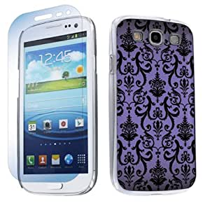 Samsung Galaxy S3 S-III Hard Plastic Cover Case + Screen Protector - Purple Vintage Flow By SkinGuardz