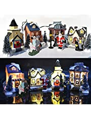 Christmas Village Houses 10PCS/Set, Christmas Village Ornament Decoration Set Snow House Villlage with Santa Claus Led Light Christmas Winter Village for Christmas Party