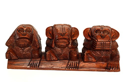 G6 Collection Wooden Hand Carved 3 Sitting Monkeys See, Hear, Speak No Evil Figurines Handmade Art Statue Rustic Sculpture Decorative Home Decor Accent Handcrafted Decoration