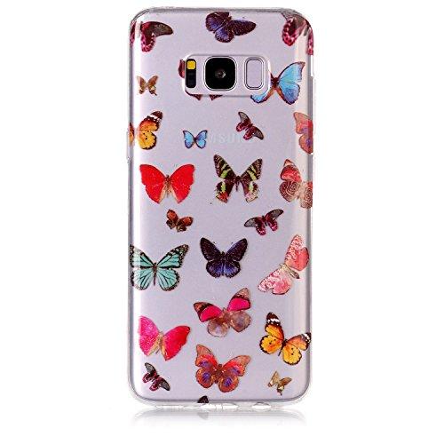 Funda Galaxy S8 Plus,SainCat Moda Alta Calidad suave de TPU Silicona Suave Funda Carcasa Caso Parachoques Diseño pintado Patrón para Carcasas Samsung Galaxy S8 Plus TPU Silicona Flexible Candy Colors  Mariposa colorida