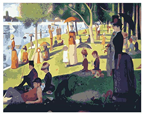 BHHCR Paint by Numbers Digital Painting DIY Ring Afternoon Park Landscape Canvas Wedding Decoration Art Picture Gift(40X50Cm Frameless)