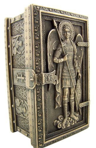 Archangel Saint St Michael Cold Cast Bronze Rosary Relic or Keepsake Case Framed Trinket Box
