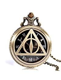 Pocket Watch, Harry Potter and The Deathly Hallows Trendy Pocket Watch The Deathly Hallows Lord Voldemort Pocket Watch for Men Retro Copper Quartz Pocket Watch Gift - Ahmedy Pocket Watch