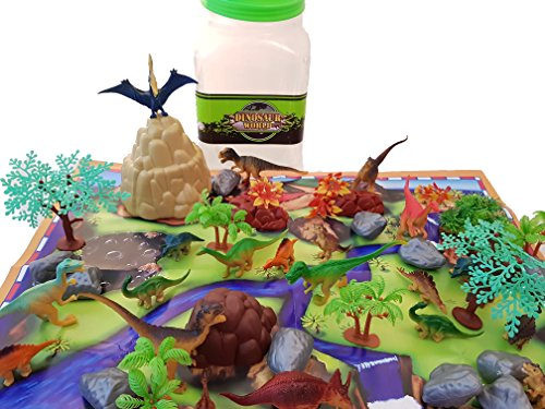 Dinosaur Play Figure Toy (Dinosaur Toys Play Set - 48 Piece Playset of Realistic Figures in a Bucket Including Dinosaurs, Trees, Rocks & Fold Up Playmat. Great Fun & Adventure Play for Boys & Girls by Planet 9)