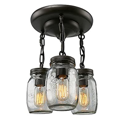 LNC Glass Lighting, 3-light Jar Ceiling Lights Brown