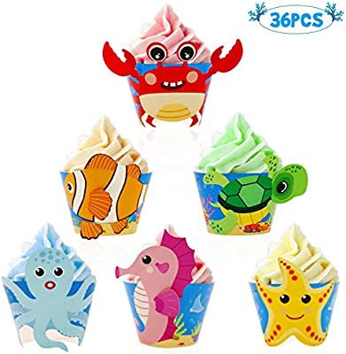 Kids Birthday Party Baby Shower Decorations 36 Pack Under The Sea Party Supplies Bessmoso Ocean Sea Animal Cupcake Wrappers