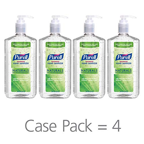 PURELL Advanced Hand Sanitizer Naturals with Plant Based Alcohol, Citrus Scent, 28 fl oz Pump Bottle (Pack of 4) - 3182-04-CMR