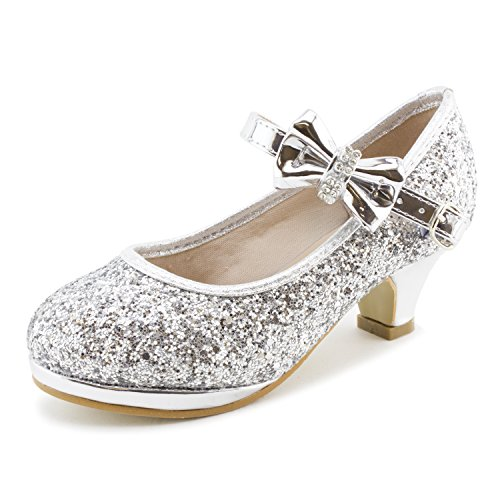 Link Girls Glitter Platform Peagent Dress Shoes (Silver, (Kids Platform)